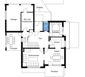 Gentiana: Grundrissplan Erdgeschoss