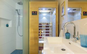 Bathroom with shower and infrared cabin